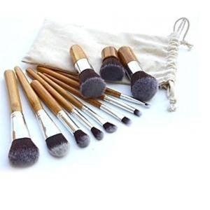 11pcs Professional Makeup Cosmetic Brush Set Eyebrow Eyeliner Foundation Powder Bamboo Brush with Free Bag