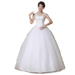 Lamya V Neck Double Shoulder Lace Bridal Ball Gown Custom Wedding Dress
