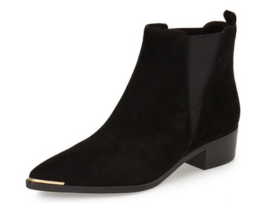 FSJ Comfortable Ankle Boots with Block Heel Pointed Toe Slip on Suede Shoes for Women 9.5 Sizes