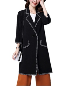 Season Show Women's Loose Fit Knit Mid-Length Cardigans jackets Outwear Black S