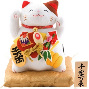 FUN fun Beckoning Cat (Maneki Neko) White Height 9.8-Inch Senkyakubanrai