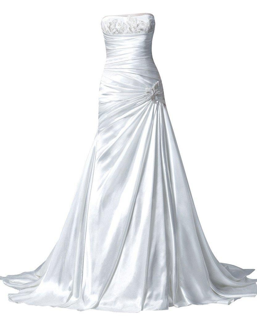 Rachel Weisz Women's Satin Strapless Beadings Ruffles Wedding Dresses Bride Evening Formal Ball Gown White US16