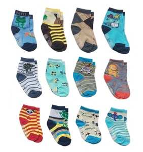Deluxe Anti Non Skid Slip Slippery Crew Socks With Grips For Baby Toddlers Kids Boys