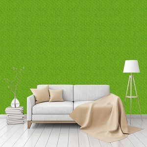 Leaf Green Retro Patterned Commercial Textured Wallpaper by CustomWallpaper.com