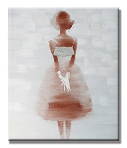 Charming Charm - Pretty Girl Wall Art Acrylic Hand Painted Oil Painting with Stretched Frame Wall Art 20 x 24 Inch