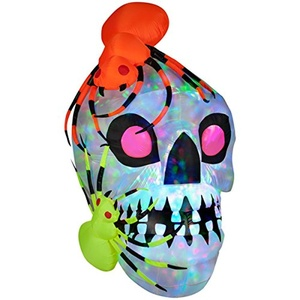 This outdoor inflatable skull that lights up with a moving kaleidoscope of colored lights is a fun and spooky greeting Light Show Skull with Spiders-Kaleidoscope