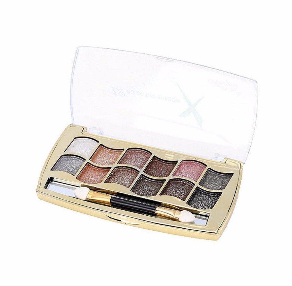 Orangeskycn 12 Colors Makeup Shimmer Eyeshadow Palette Cosmetic Nude Warm Eye Shadow (E)