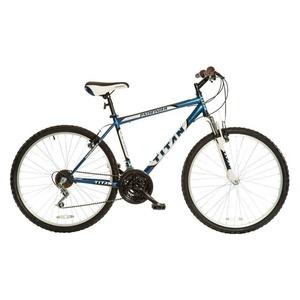 Titan Men's 18-Speed Pathfinder Front-Suspension Mountain Bike, Midnight Blue, 18-Inch Steel Frame, 26-Inch Alloy Wheels