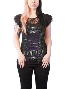 Spiral T Shirt Waisted Corset Lace Layered Cap Sleeve Junior Fit T Shirt Black
