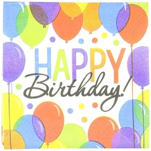 Balloon Bash Birthday Party Beverage Napkins , Pack of 125, Multi Colored , 5 x 5 Paper by TradeMart Inc.