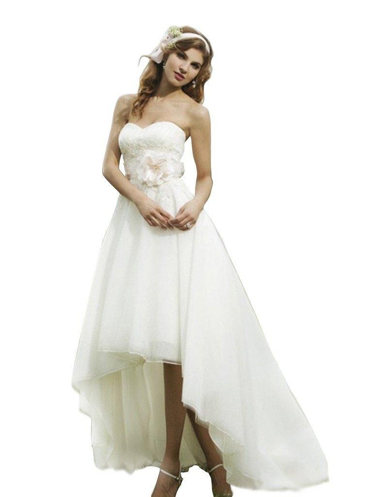 Aurora Bridal Women Organza Hi-Lo Wedding Dress Long Bridesmaid Gown Ivory 14