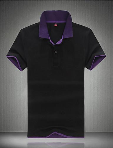 Men's Fashion Color Block Casual Slim Fit Lapel Cotton Short-Sleeve Polos