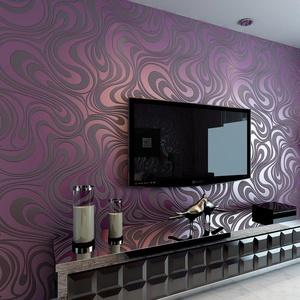 Hanmero Modern Minimalist Abstract Curves Glitter Non-woven 3D Wallpaper For Bedroom Living Room TV Backdrop Purple Six Rolls