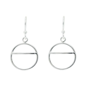 Tomas Sterling Silver Open Circle with Horizontal Chord Dangle Earrings
