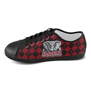 H-ome Art Ncaa Alabama Crimson Tide Men's Low-top Lace-Up Canvas Shoes Casual Sneakers ,Black
