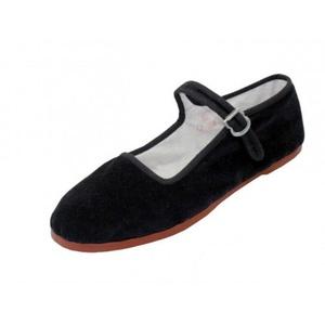Easy USA Women's Cotton Mary Jane Shoes Ballerina Ballet Flats Shoes (9, BLACK VELVET)