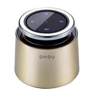 SHIDU SD-T2 Bluetooth 4.2 Wireless Speaker with Natural Voice, In-built MIC - Portable In-car Hands-free Speakerphone, Support TF Card (32G), Compatible with iPhone, iPad, Samsung, ect (Gold)
