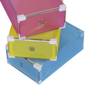 ONEONEY Colorful Plastic Foldable Shoes Box Drawer Storage Boot Box with Frame Container for Home Office Closet, 5 pack