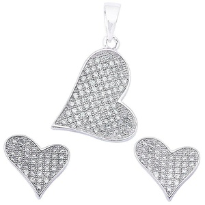 Pave Set Cz Heart .925 Sterling Silver Earring & Pendant Set