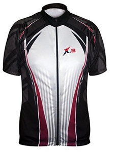 X-2 Men's Breathable Anti Bacterial Short Sleeve Cycling Jersey Black-Gray XL