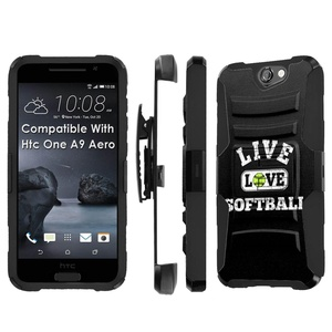 Htc [One A9] Armor Case [SlickCandy] [Black/Black] Heavy Duty Defender [Holster] [Kick Stand] - [Live Love SoftBall] for Htc One [A9 Aero]