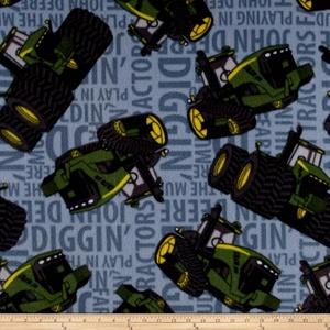 John Deere Fleece Tractors Words Blue Fabric By The Yard
