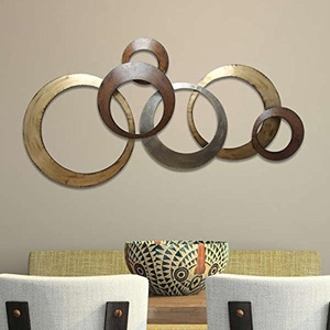 Wall Decor with Handmade Metallic Ring Design in Gold and Brown Finish