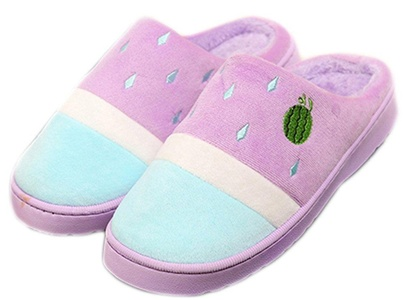 Cotton Girls Cute Style Fruit Indoor Slippers Non-slip Slipper (Red, EU 39-40)
