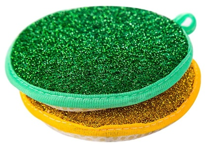 C-Pioneer Double Side Round Shape Metallic Scrub Sponge Dish Pad Cleaner (Pack of 1)