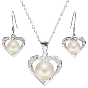 EleQueen 925 Sterling Silver CZ AAA Button Cream Freshwater Cultured Pearl Love Heart Bridal Jewelry