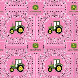 John Deere Bandana Tractor Pink Fabric From Springs Creative By the Yard