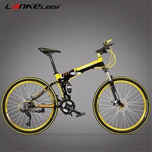 27 Speeds, 26 inches, Aluminum Alloy Rim, Aluminum Alloy Frame, Disc Brake, Suspension Fork, Folding Mountain Bike, Top Brand Speed Control System. (yellow)