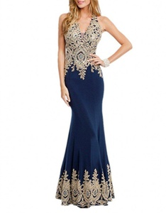 Winnie Bride Sexy Long Fitted Evening Dress for Women Formal with Gold Appliques-16W-Navy Blue