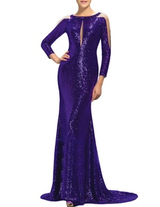 Favors Women's Sequin Sleeve Mermaid Evening Dress Formal Gowns with Train Dark Purple 8