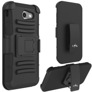 Galaxy J3 Emerge Case, LK [Heavy Duty] Black Armor Holster Defender Full Body Protective Hybrid Case Cover with Belt Clip for Samsung Galaxy J3 Emerge