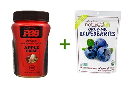 P28 Foods High Protein Spread Apple Crisp -- 16 oz, (2 PACK), Nature's All Foods Organic Freeze-Dried Raw Blueberries -- 1.2 oz