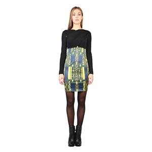 Versace Jeans Womens/Ladies Long Sleeve Dress With Back V Neck (4 US) (Black/Yellow/Blue)