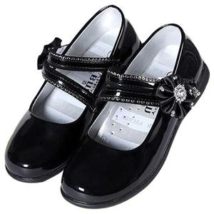 Girls Velcro Rhinestone Princess Ballerina Flats Mary Jane Performance Shoes