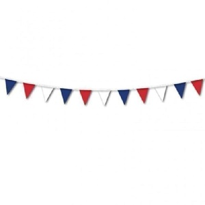 France/French Flag Red, White & Blue Plastic Pennant Bunting - 7m by England & Other Countries Themed Party Items