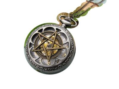 Ancient Gun Black Pentagram Pocket Watch Necklace Supernatural Pentacle Amulet Wiccan