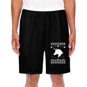 Athletic Men's Big White Unicorn Christmas Gift Training Shorts