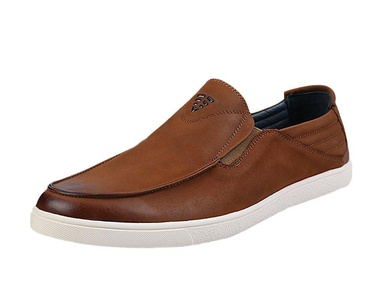 Ubasics Men's Round Toe Casual Slip on Loafers Brown US M 6.5
