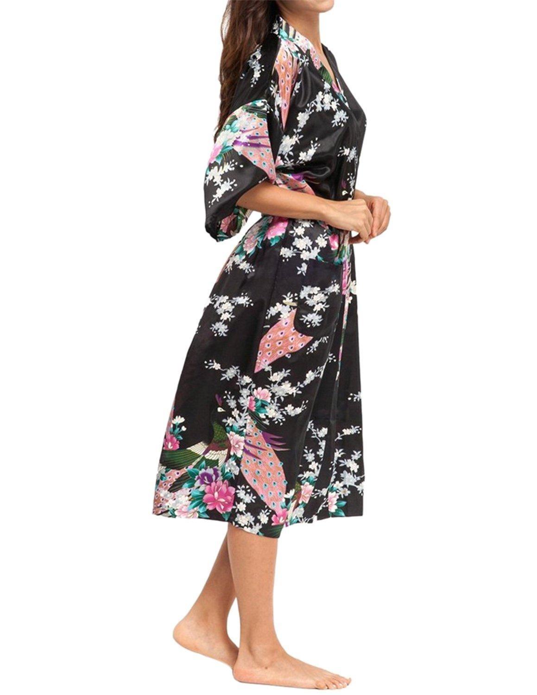 Online Store  Lapaya Women s Kimono Robe Peacock   Blossoms Design Long  Silky Bridal Satin Robe f4f7b2f72