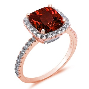Cushion Cut Simulated Red Garnet Halo Accent Engagement Ring 925 Sterling Silver Round CZ Choose Color