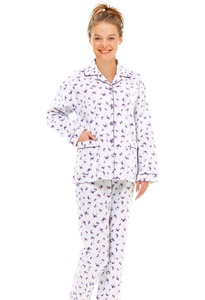 GLOBAL Women's Plus-Size Comfortable Long Sleeve Cotton Pajama Set