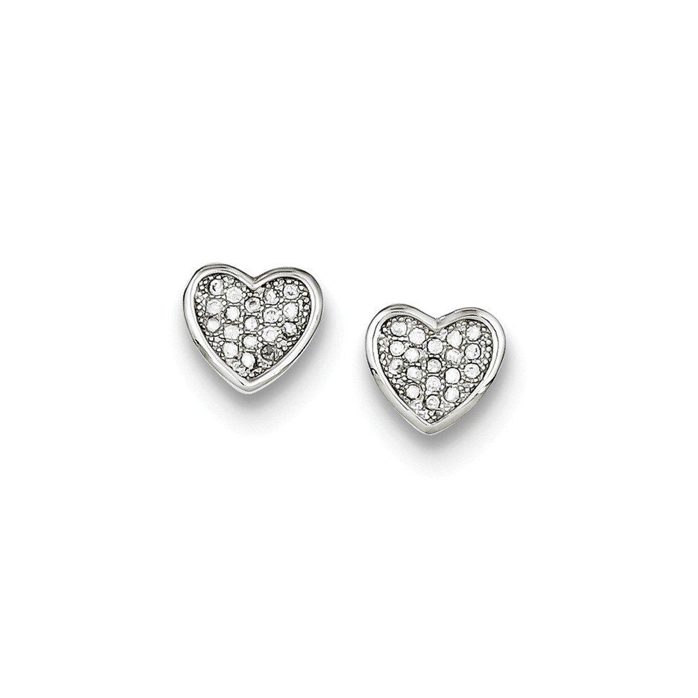 .925 Sterling Silver 9 MM CZ Pave Heart Post Stud Earrings