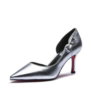 Lady sweet bow pointed high heels/Genuine leather shoes-B Foot length=23.3CM(9.2Inch)