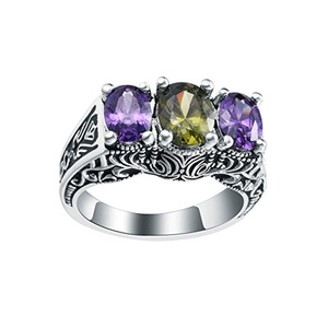 Antique Silver Floral CZ Cublic Zircon Amethyst Crystal Finger Ring Wedding Bridal Jewelry US 6,7,8,9