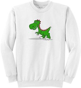 Joe's USA(tm) Youth T-Rex Logo Fleece Crewneck Sweatshirt-White-S