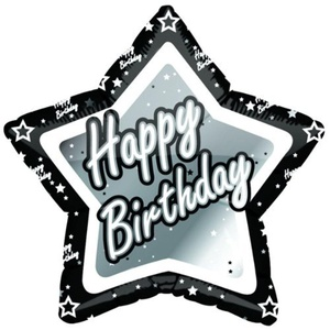 Happy Birthday Black/Silver Star Balloon 18 Uninflated by notjustballoons